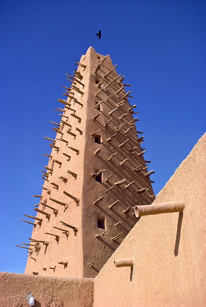 Detail of mosque minaret in Agadez, Sahel, Niger, Africa