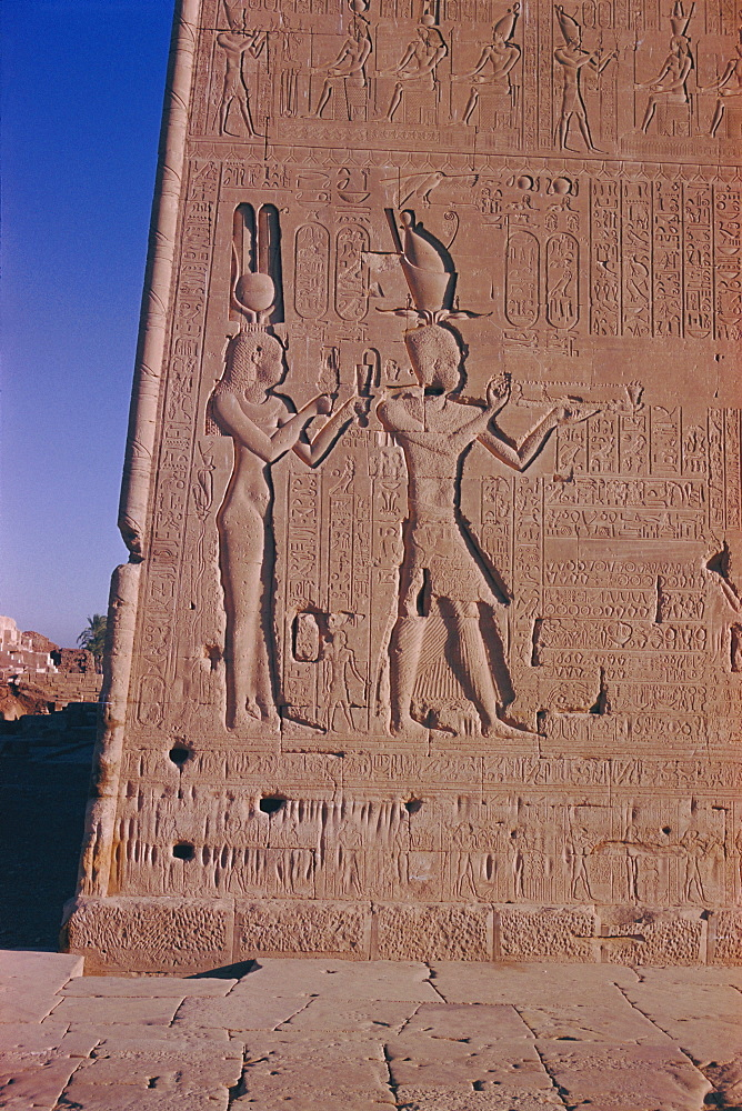 Ptolemy XVI son of Julius Ceasar, with his mother Cleopatra, in presence of deities, reliefs on the south facade, late Plotemaic temple of Hathor, Dendera, Egypt, North Africa, Africa