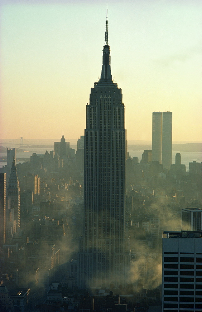 The Empire State Building and the Twin Towers behind, at dusk, pre 11 September, Manhattan, New York City, United States of America, North America