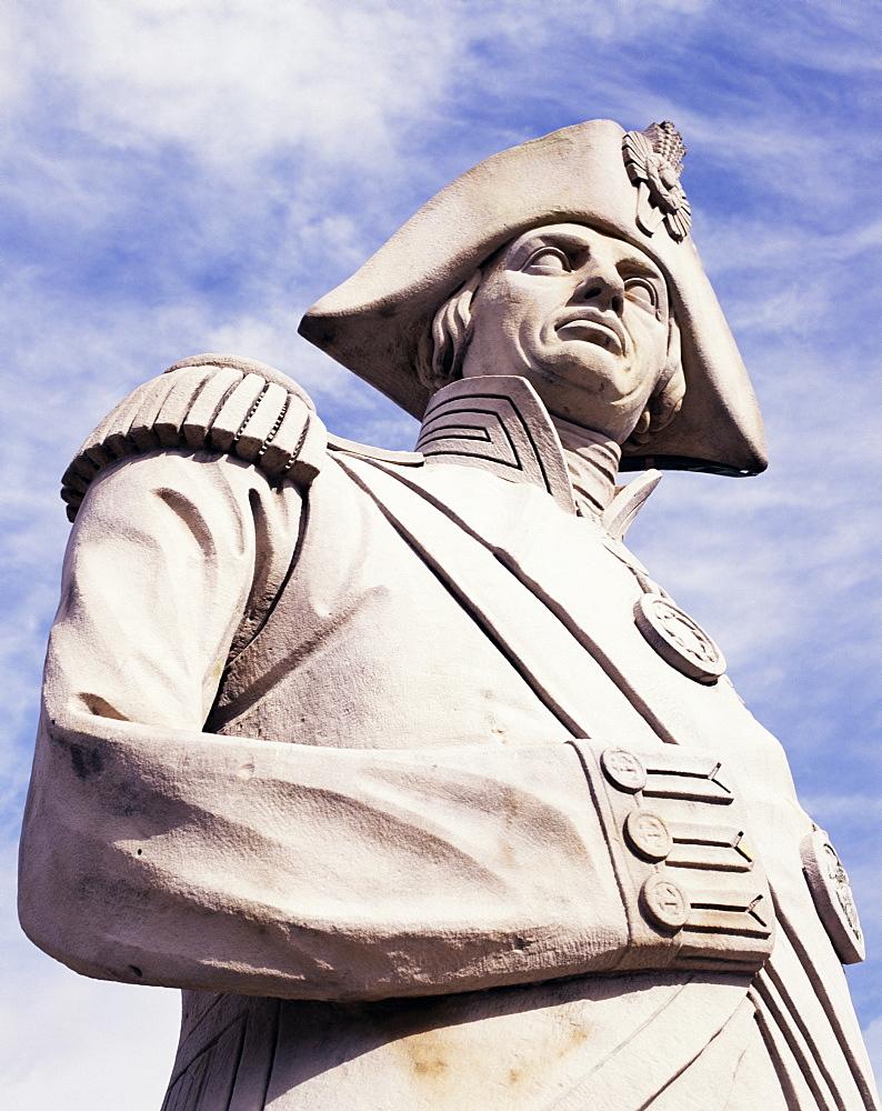 Close-up of statue of Admiral Nelson, Nelson's Column, Trafalgar Square, London, England, United Kingdom, Europe