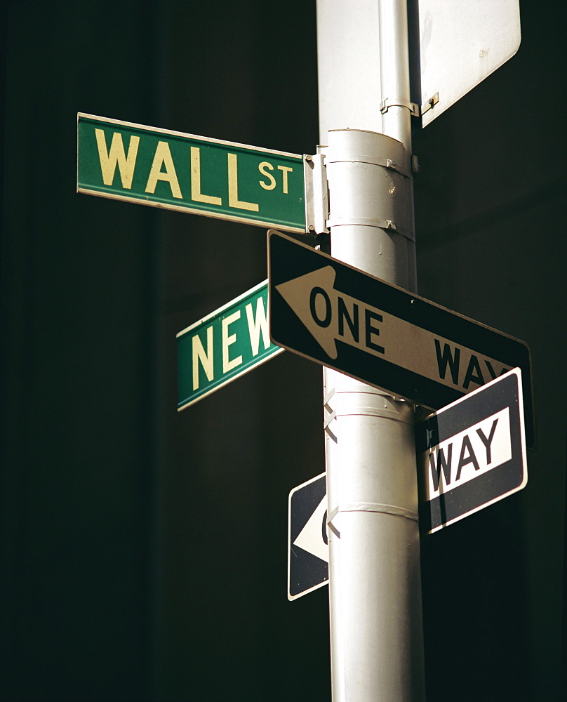 Wall Street sign, New York City, New York State, USA, North America