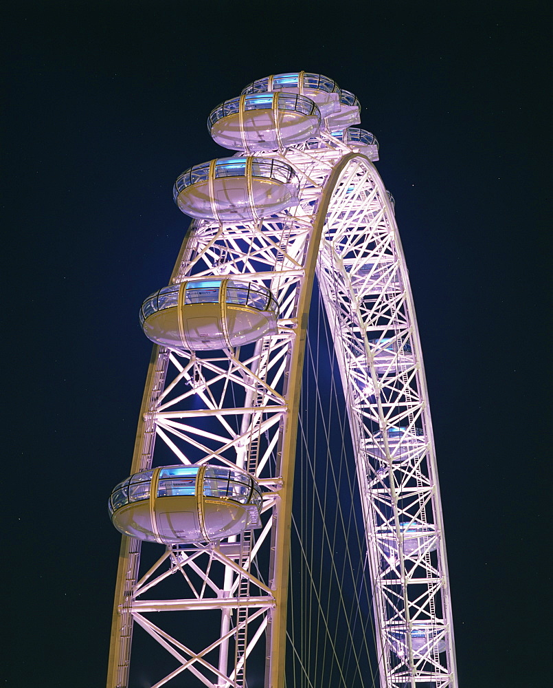 Illuminated by moving coloured lights, London Eye, architects Marks Barfield, London, England, United Kingdom, Europe - 190-9786