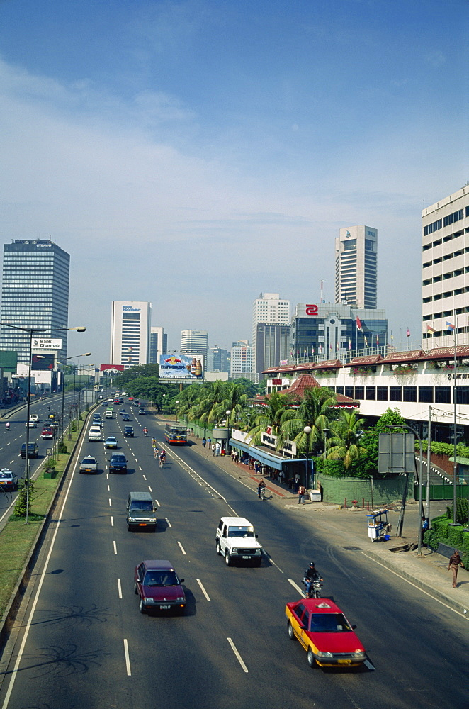 Jalan Thamrin and the skyline of Jakarta, Java, Indonesia, Southeast Asia, Asia