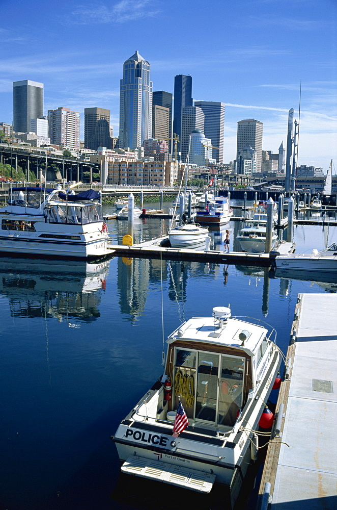 City skyline from the marina, Seattle, Washington State, United States of America, North America