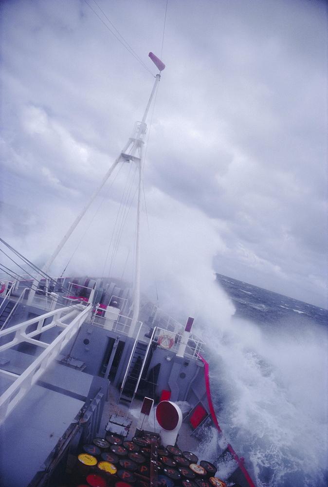 Ship in rough seas, Antarctic Ocean, Antarctica