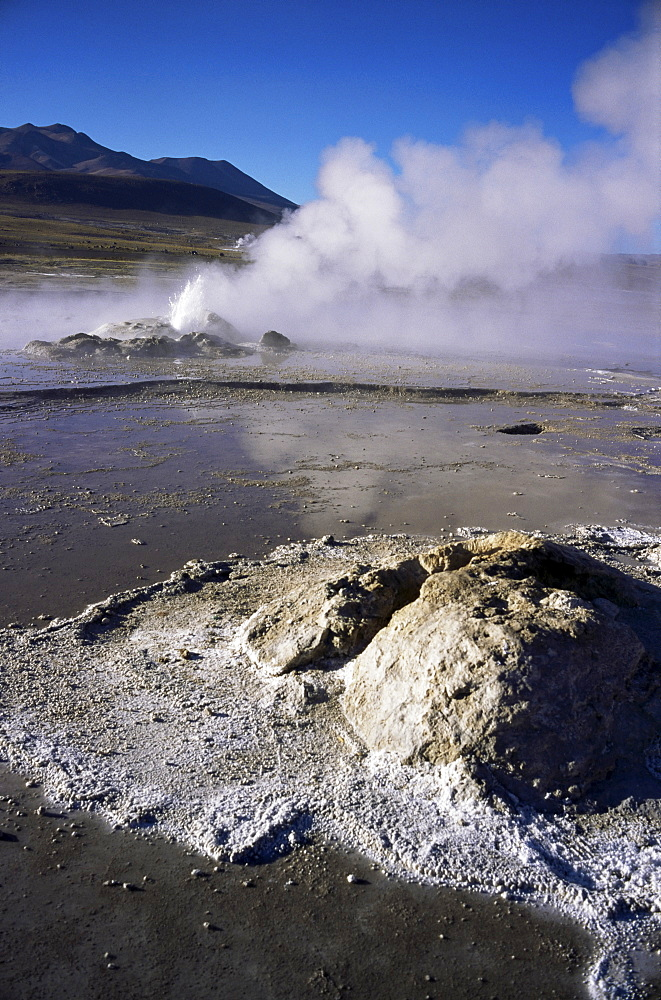 El Tatio Geysers and fumaroles, Andes at 4300m, northern area, Chile, South America