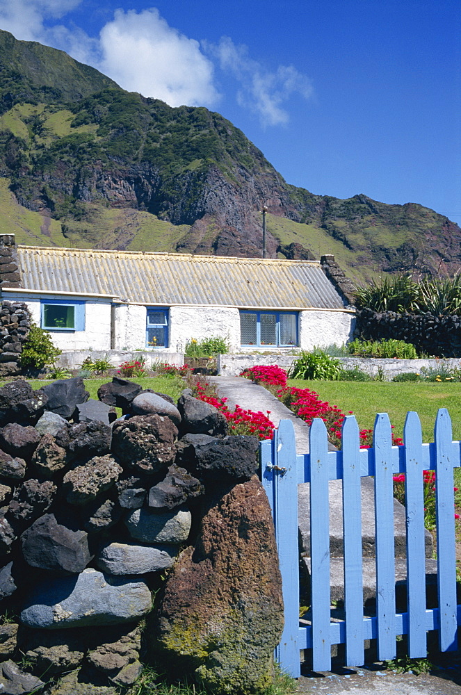 Cottage and garden gate, Edinburgh, Tristan da Cunha, Mid Atlantic