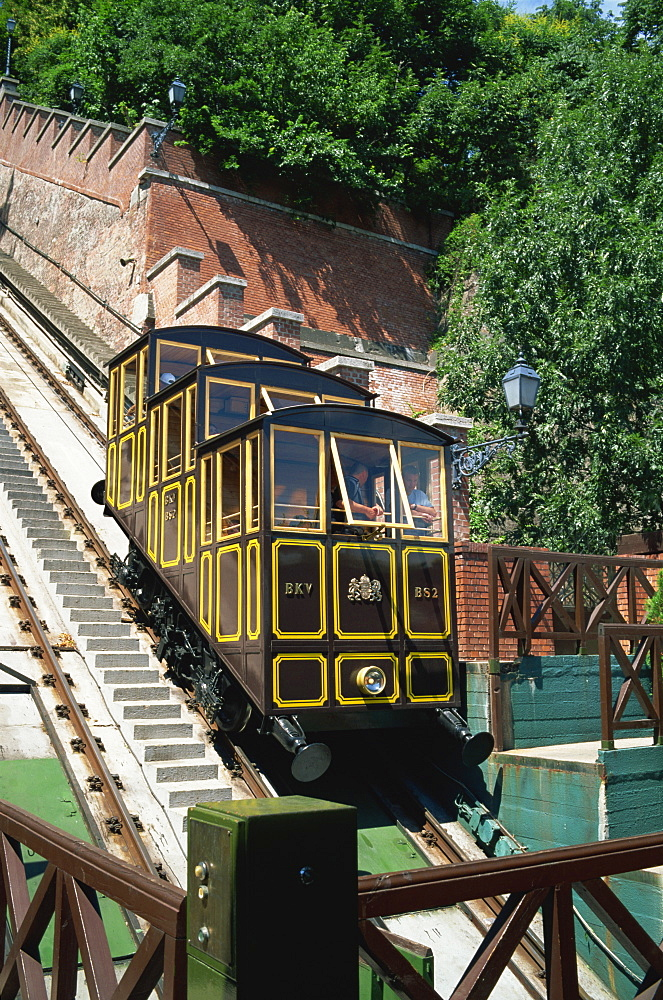 Funicular railway up Castle Hill from Clark Adam Square, Budapest, Hungary, Europe - 197-5760