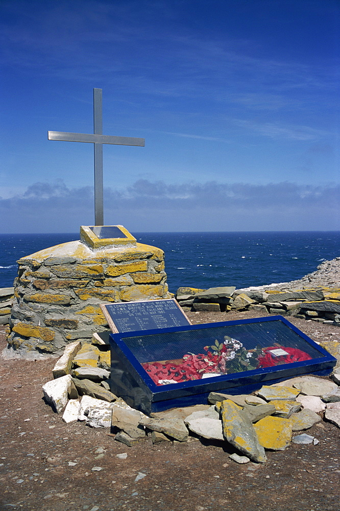 Memorial to the HMS Sheffield hit offshore by Exocet missile in May 1982, Sea Lion Island, Falkland Islands, South America - 197-5824