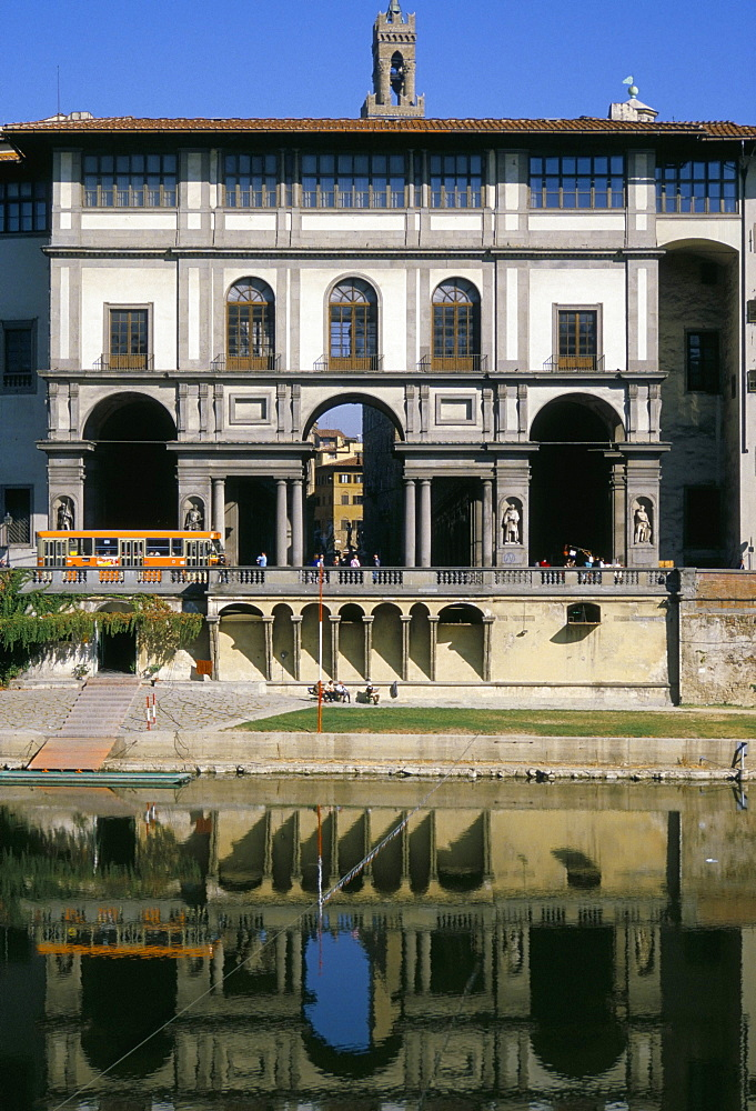 The Uffizi reflected in the Arno river, Florence, Tuscany, Italy, Europe