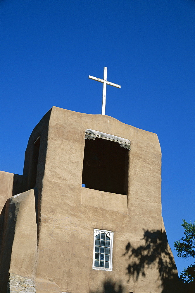 San Miguel chapel detail, mission church built by Thalcala Indians, rebuilt 1710, among oldest mission churches in America, Santa Fe, New Mexico, United States of America (U.S.A.), North America