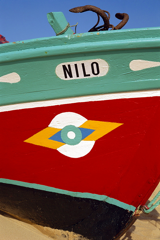 Stylized eye on fishing boat, Algarve, Portugal, Europe