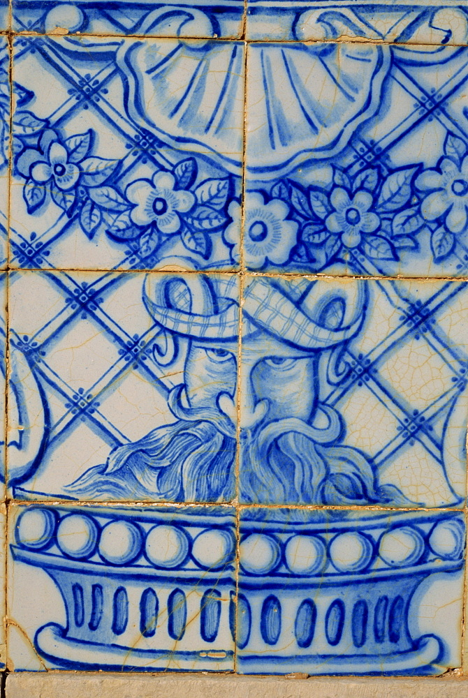Detail of azulejo tile, gardens of the 19th century Estoi Palace, Estoi, Portugal, Europe