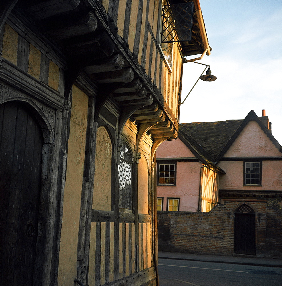 Tudor shops and Priory Farm, Lavenham, Suffolk, England, United Kingdom, Europe
