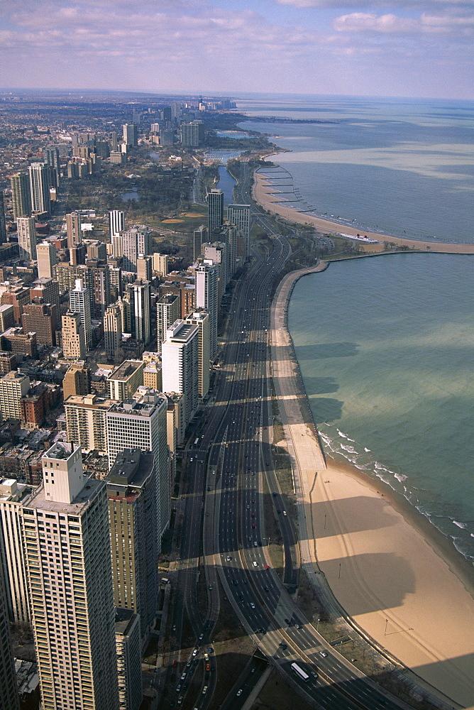 View north along shore of Lake Michigan from John Hancock Center, Chicago, Illinois, United States of America (U.S.A.), North America