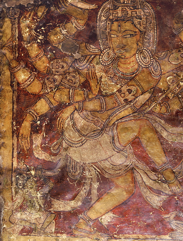 Shiva mural in the Kailasanatha Temple, dating from the 8th century AD, Ellora, UNESCO World Heritage Site, Maharashtra, India, Asia