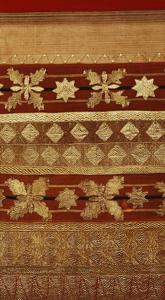 Detail of ceremonial costume woven with gold and metallic thread from the Regent Collection, from South Sumatra, Indonesia, Southeast Asia, Asia