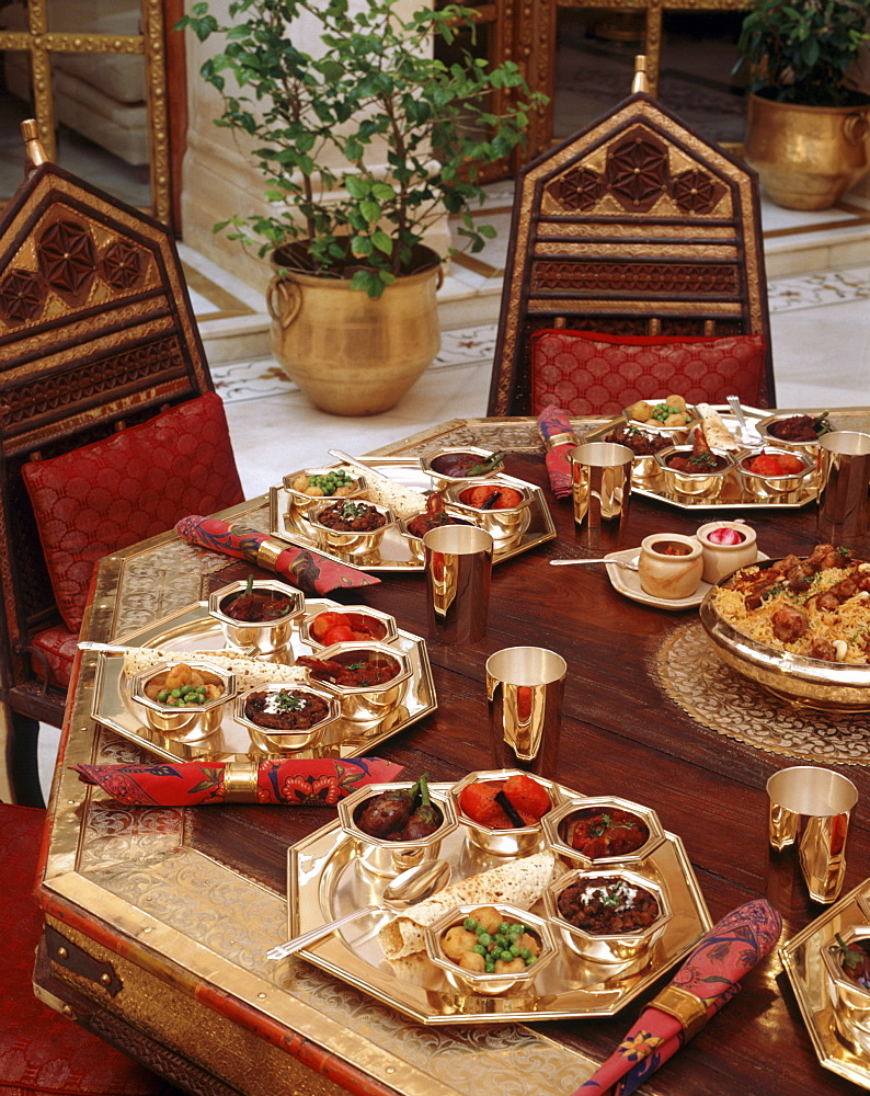 Table with Indian Cuisine in India, Asia