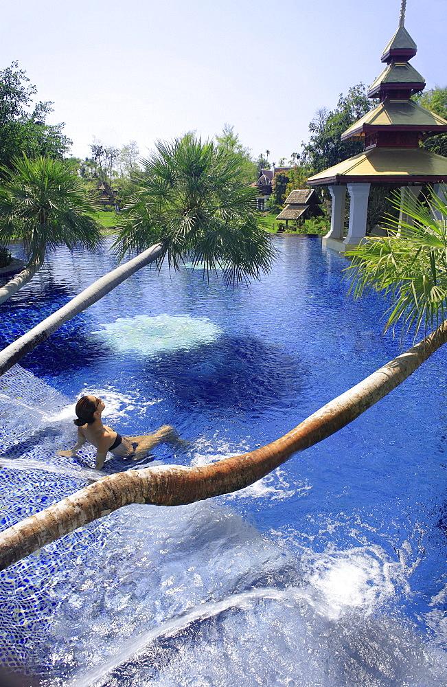 Pool at the Mandarin Oriental Dhara Dhevi Hotel in Chiang Mai, Thailand, Southeast Asia, Asia