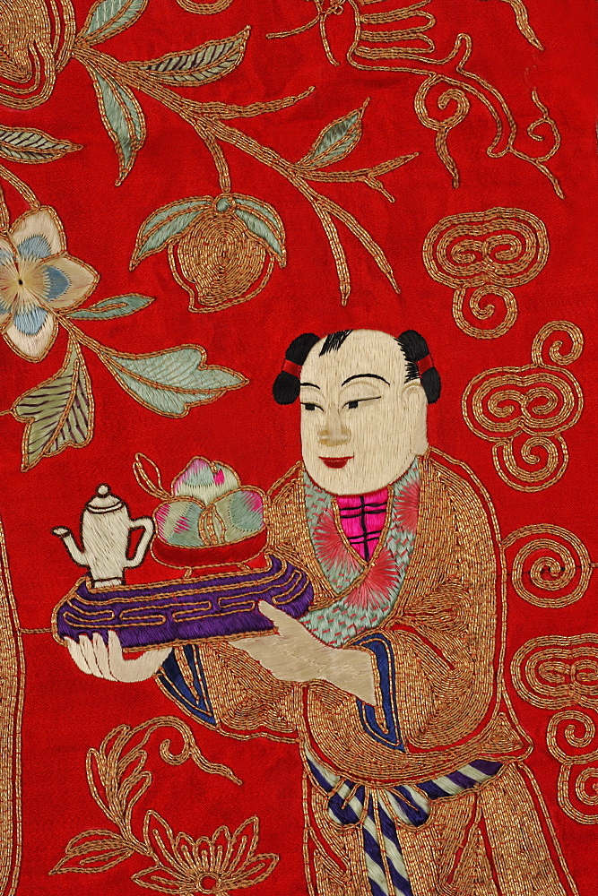 Chinese embroidery of boy bringing tea, China, Asia