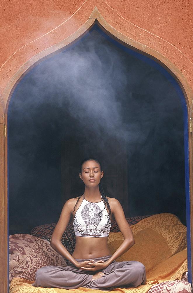 Girl doing meditation, Thailand, Southeast Asia, Asia - 238-5892