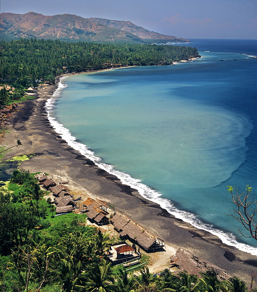 View of the coast of Bali near Candi Dasa, Bali, Indonesia, Southeast Asia, Asia
