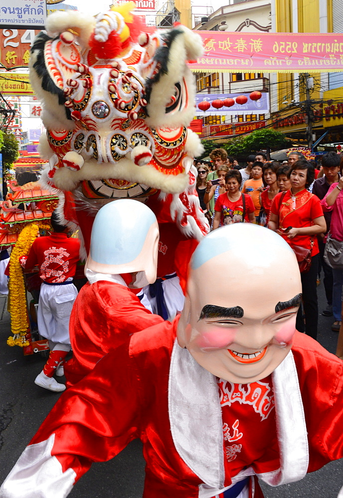 Lion dance, Chinatown, Bangkok, Thailand, Southeast Asia, Asia - 238-6322
