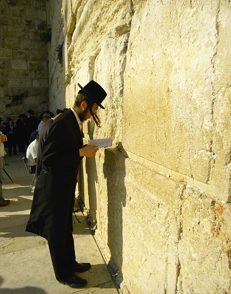 Hasidic Jew praying (reciting) at the Western Wall (Wailing Wall), Jerusalem, Israel, Middle East