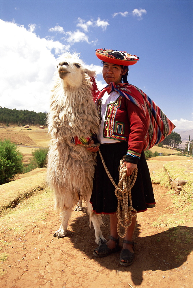 Portrait of a Peruvian girl in traditional dress, with an animal, near Cuzco, Peru, South America