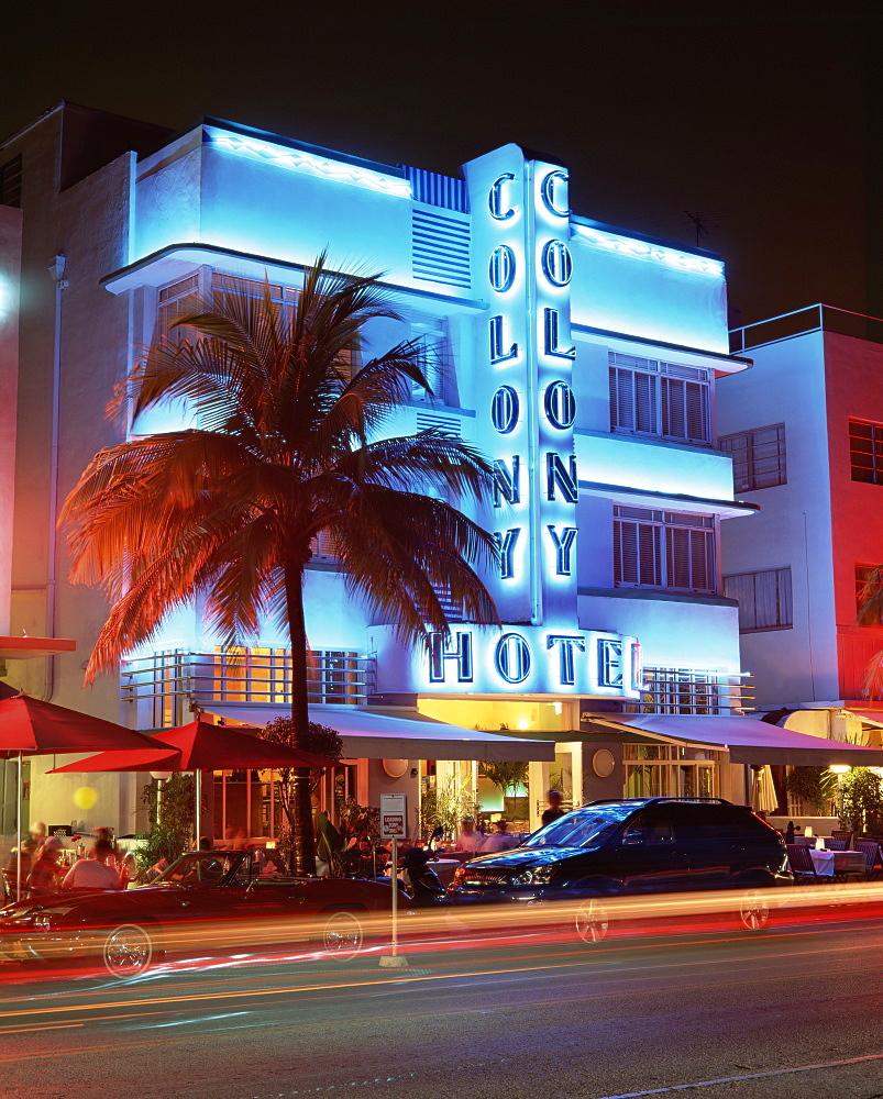 Art deco district at dusk, Ocean Drive, Miami Beach, Miami, Florida, United States of America, North America - 252-10808