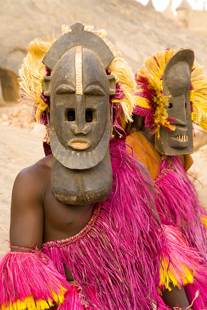 Portrait of masked ceremonial Dogon dancers near Sangha, Bandiagara escarpment, Dogon area, Mali, West Africa, Africa