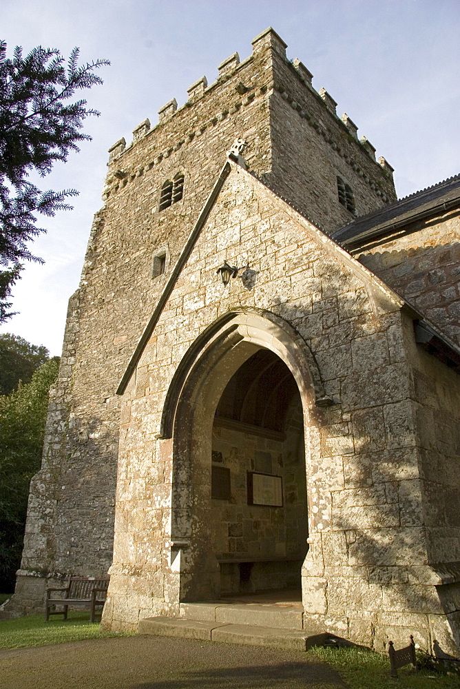 Church of St. Brynach, 6th century foundation, with Norman tower, mainly constructed between 1425 and 1525, late perpendicular, Nevern, Pembrokeshire, Wales, United Kingdom, Europe - 253-3629
