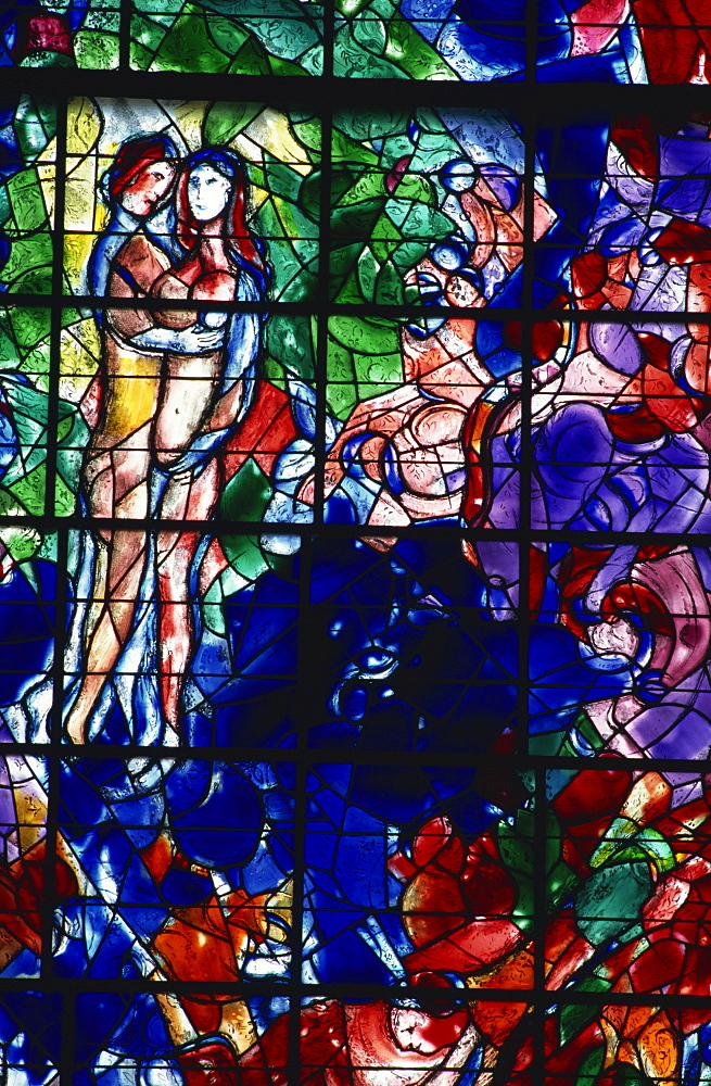 Stained glass window by Marc Chagall, Sarrabourg, Lorraine, France, Europe