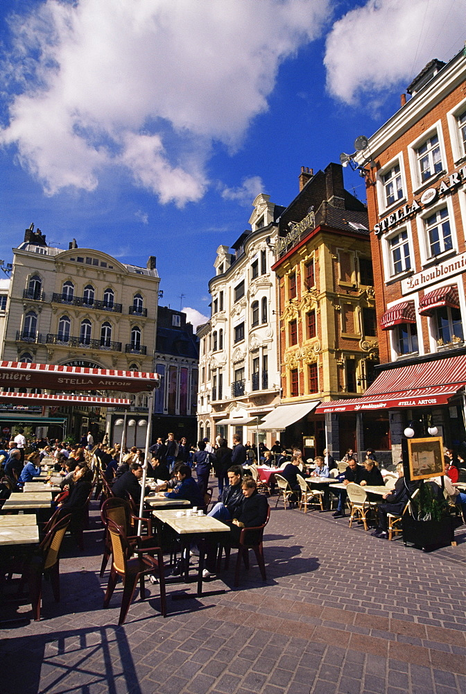 Flemish houses and cafes, Grand Place, Lille, Nord, France, Europe