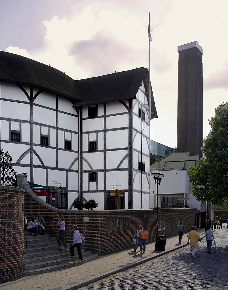The Globe Theatre, with the Tate Modern Gallery beyond, Bankside, London, England, United Kingdom, Europe