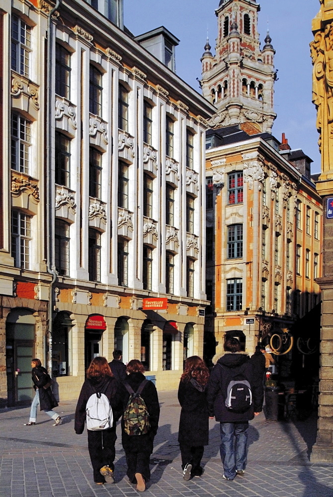 Tourists walking in the Grand Place (Place du General de Gaulle), Lille, Flanders, Nord, France, Europe