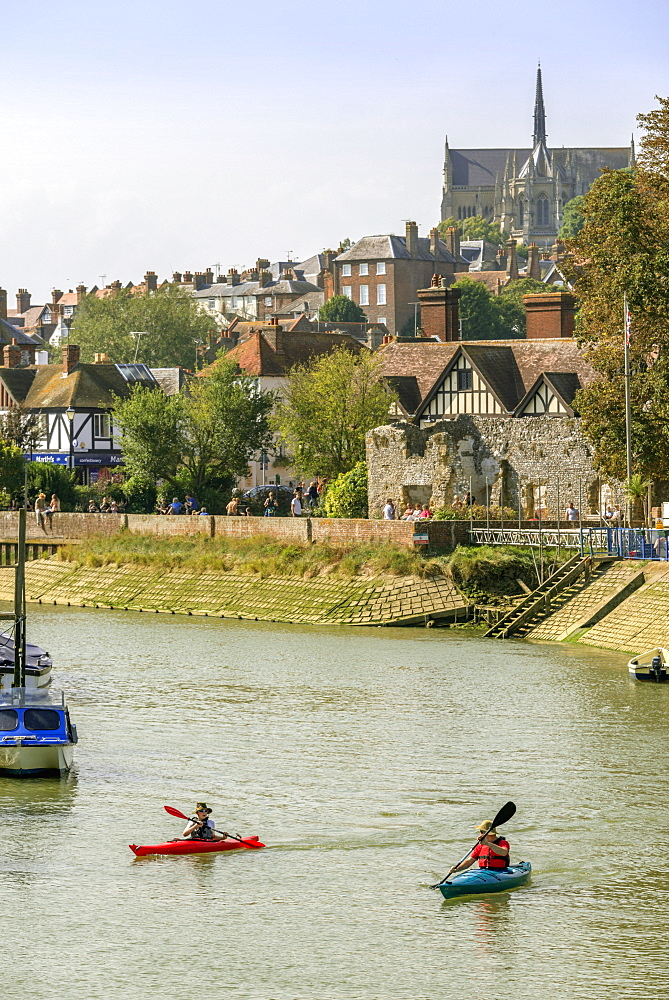 Boats moored on the River Arun, Arundel, West Sussex, England, United Kingdom, Europe - 255-8990
