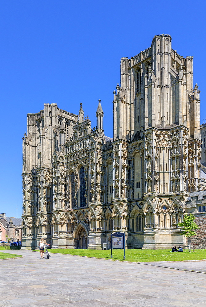 The medieval cathedral of Wells, Somerset, England, United Kingdom, Europe - 255-9023