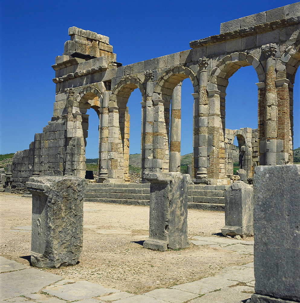 Roman ruins, Volubilis, UNESCO World Heritage Site, Morocco, North Africa, Africa