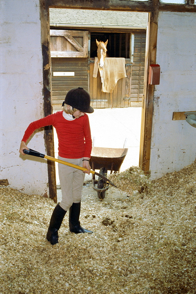 Girl mucking out, Belmont Country Club, England, United Kingdom, Europe