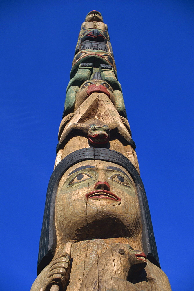 Inside Passage four-story totem pole, carved from red cedar in 1940 by John Wanlace, a native Haida carver, Juneau, Alaska, United States of America, North America