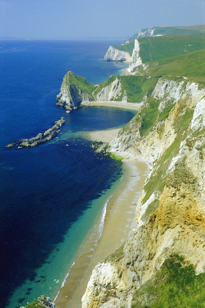 Chalk and limestone cliffs between Lulworth and Durdle Door, Isle of Purbeck, Dorset, England, UK