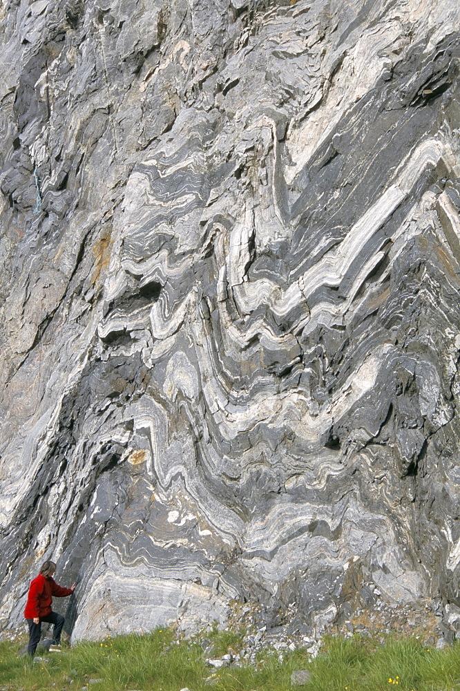 Strong folding in garnet gneiss, Hammerfest, Norway, Scandinavia, Europe
