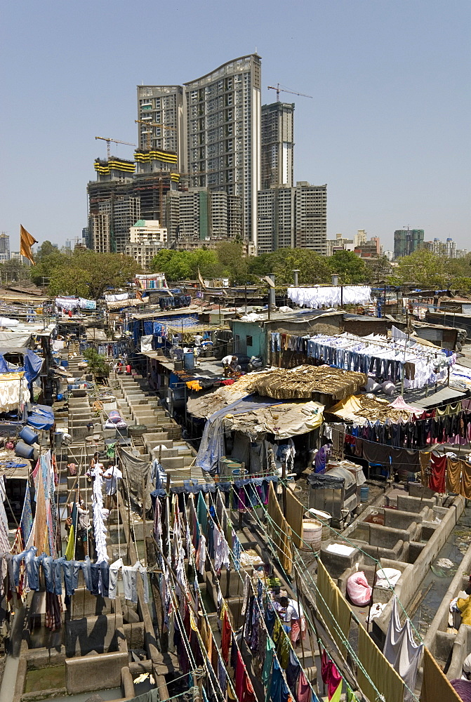 Dhobi Ghat, the main city laundries at Mahalaxmi, Mumbai, India, Asia