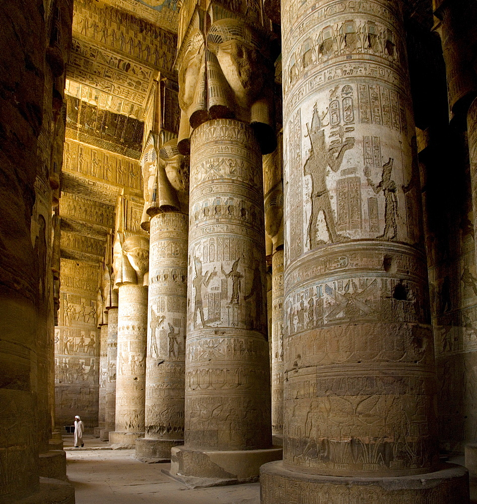 The Outer Hypostyle Hall in the Temple of Hathor, Dendera necropolis, Qena, Nile Valley, Egypt, North Africa, Africa