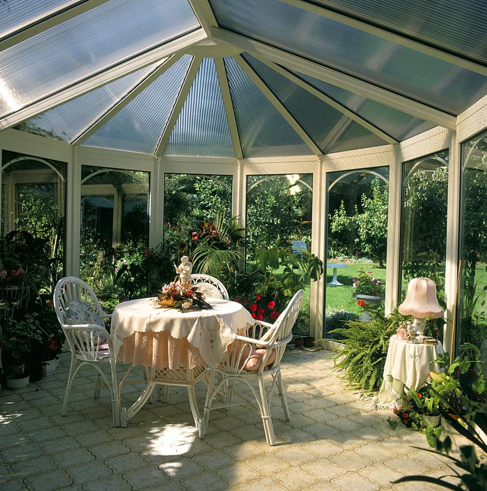 Interior of a conservatory, United Kingdom, Europe