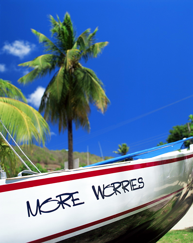Boat on the shore, Bequia, St. Vincent, Grenadines, West Indies, Caribbean, Central America