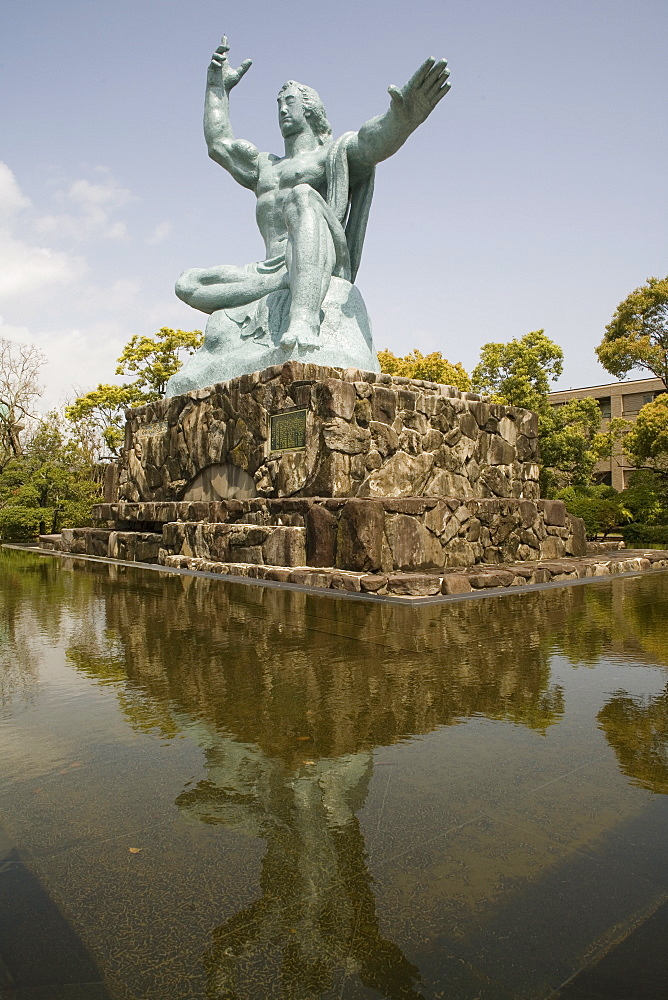 Peace statue, commemorating 1945 atomic blast, Nagasaki, Japan, Asia