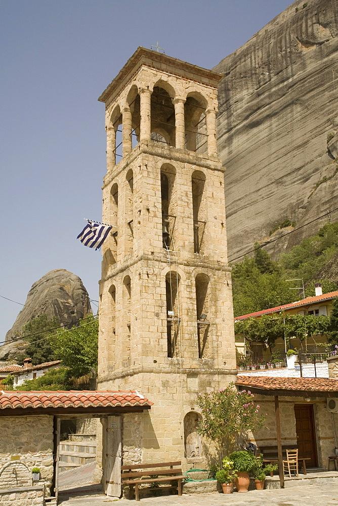 Byzantine church tower, Kalambaka, Meteora, Thessaly, Greece, Europe