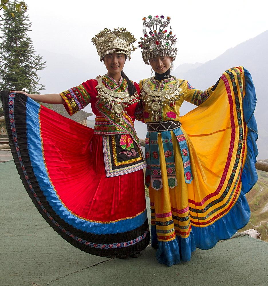 Two girls, Ping An village, Longji, Guangxi, China, Asia